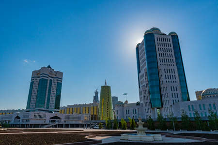 Nur-Sultan Astana Senate of the Parliament of the Republic of Kazakhstan Building on a Sunny Blue Sky Day