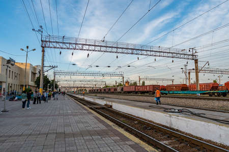 Taraz Vokzaly Railway Station View Passengers are Waiting for the next Train on a Sunny Blue Sky Day