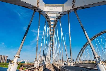 Nur-Sultan Astana Arys Bridge Picturesque Breathtaking Leading Lines View on a Sunny Blue Sky Day Stock fotó