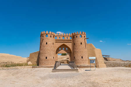 Turkestan Otrartobe Archeological Site View of Main Gate Entrance and Bridge to the Ancient City on a Sunny Blue Sky Day Stock fotó