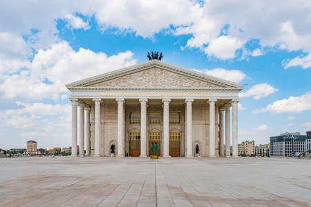 Nur-Sultan Astana Opera Theater Main Gate Entrance Frontal View on a Sunny Cloudy Blue Sky Day Archivio Fotografico
