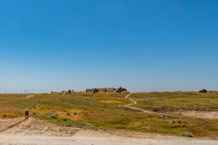 Turkestan Sauran Walled City Picturesque Breathtaking View of the Archeological Site on a Sunny Blue Sky Day Stock fotó