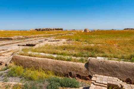 Turkestan Sauran Walled City Picturesque Breathtaking View of the Archeological Site on a Sunny Blue Sky Day