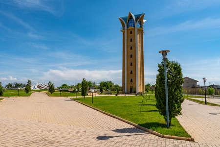 Archaeological Park Ancient Taraz Folk Ensemble of Kazakhstan Building with Tower on a Sunny Blue Sky Day