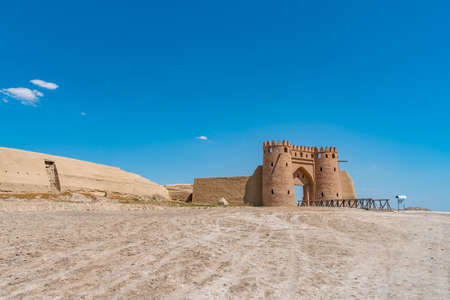 Turkestan Otrartobe Archeological Site View of Main Gate Entrance and Bridge to the Ancient City on a Sunny Blue Sky Day