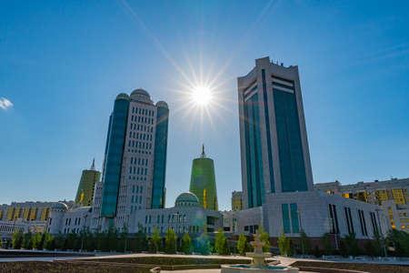 Nur-Sultan Astana Senate of the Parliament of the Republic of Kazakhstan Building on a Sunny Blue Sky Day Stock fotó - 133441793