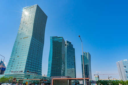 Nur-Sultan Astana Picturesque View of Three Commercial Skyscraper Buildings on a Sunny Blue Sky Day