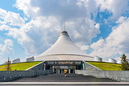 Nur-Sultan Astana Royal Marquee Khan Shatyr Entertainment with a View of a Man Entering the Building on a Sunny Blue Sky Day