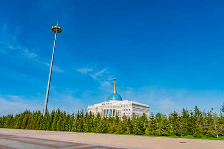 Nur-Sultan Astana Ak Orda Presidential Palace of the Republic of Kazakhstan Building on a Sunny Blue Sky Day