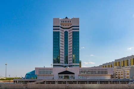 Nur-Sultan Astana the Ukimet Uyi Government House Building of Kazakhstan on a Sunny Cloudy Blue Sky Day Stock fotó - 133440089