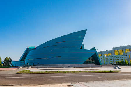 Nur-Sultan Astana Kazakhstan Central Concert Hall Picturesque View on a Sunny Cloudy Blue Sky Day
