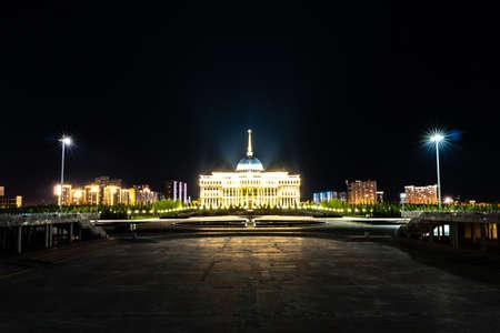 Nur-Sultan Astana Ak Orda Presidential Palace of the Republic of Kazakhstan Building at Night Time Stock fotó - 133440105