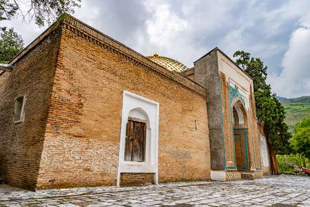 Penjikent Mazor-i Sharif Mausoleum of Muhammad Bashoro Islamic Scholar Picturesque View on a Cloudy Rainy Day