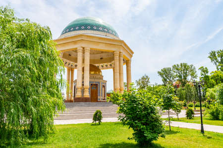 Khujand Kamoli Khujandi Park Picturesque Breathtaking View of Mausoleum on a Sunny Blue Sky Day 版權商用圖片