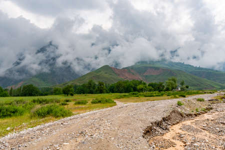 Penjikent Mazor-i Sharif Breathtaking Picturesque View of the Landscape on a Cloudy Rainy Day