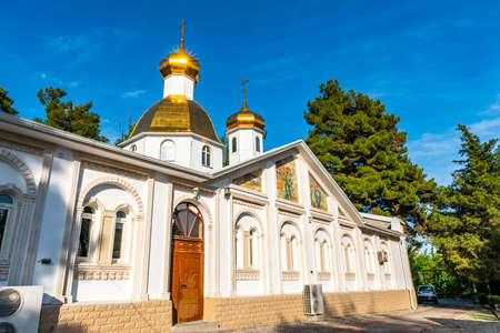 Dushanbe Russian Orthodox Christian Saint Nicholas Cathedral Picturesque View on a Sunny Blue Sky Day