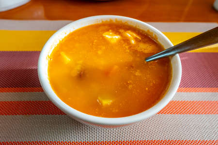 Traditional Mouthwatering Kyrgyz Hot and Tasty Carrot Potato Soup in a White Bowl