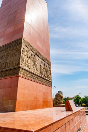 Khujand Ismoil Somoni Statue Picturesque View with Sitting Lion on a Sunny Blue Sky Day