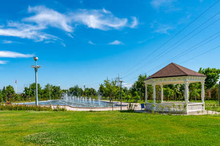 Dushanbe Youth Park Picturesque View of Pavilion with Fountain on a Sunny Blue Sky Day