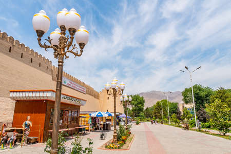 Khujand Kamoli Khujandi Park Promenade Walking Street with Souvenir Shops on a Sunny Blue Sky Day