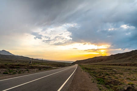 Isfara Picturesque Breathtaking Panoramic Landscape and Highway View on a Sunset Blue Sky Day