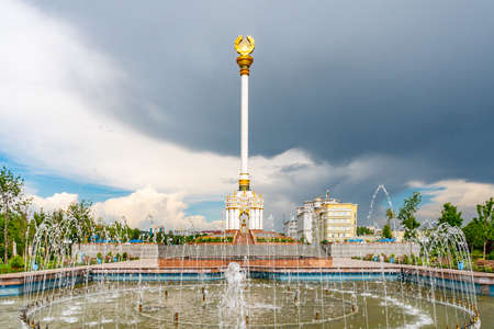 Dushanbe Independence Monument Breathtaking Picturesque View of Fountains on a Sunny Blue Sky Day Фото со стока