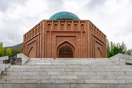 Panjrud Abu Abdullah Rudaki Mausoleum Picturesque View of the Tomb on a Cloudy Rainy Day