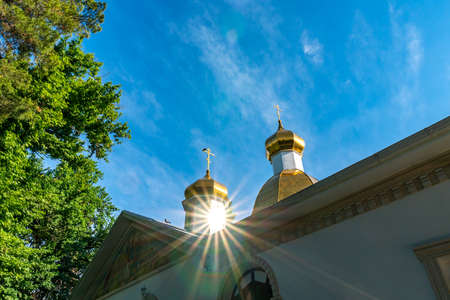 Dushanbe Russian Orthodox Christian Saint Nicholas Cathedral Picturesque View of Sun Rays on a Sunny Blue Sky Day
