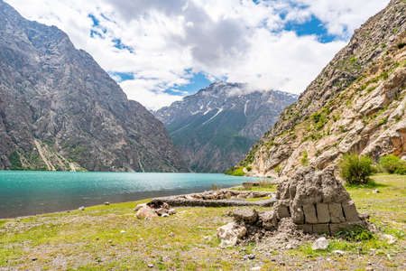 Penjikent Haft Kul Seven Lakes Breathtaking Picturesque Panoramic View on a Sunny Blue Sky Day