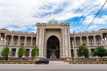 Dushanbe Navruz Palace Picturesque View from Ismoil Somoni Avenue on a Cloudy Rainy Day Editorial