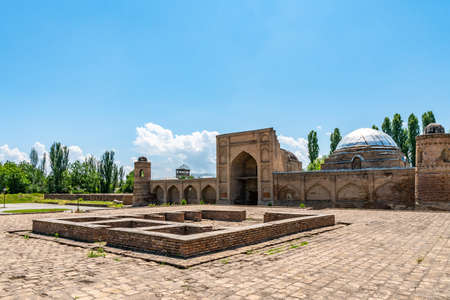 Hisor Fortress Madrasa Kukhna Picturesque Breathtaking View with Square on a Sunny Blue Sky Day