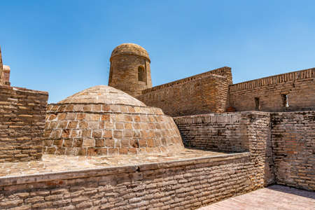 Hisor Fortress Main Gate Entrance Walls Picturesque Breathtaking Roof View on a Sunny Blue Sky Day