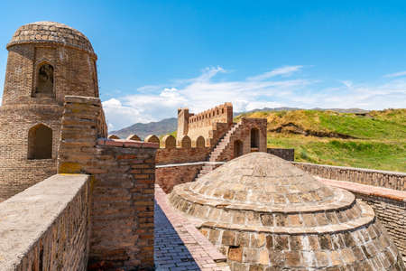 Hisor Fortress Main Gate Entrance Walls Picturesque Breathtaking Staircase View on a Sunny Blue Sky Day Redakční