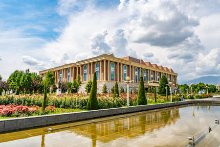 Dushanbe Flag Pole Park Picturesque View of Tajikistan National Museum on a Sunny Blue Sky Day