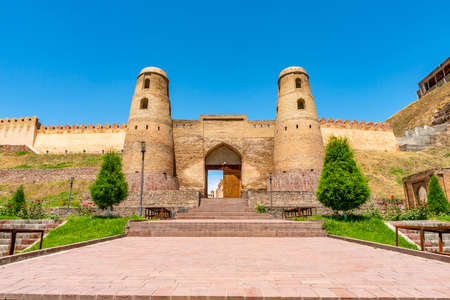 Hisor Fortress Main Gate Entrance Walls Picturesque Breathtaking View on a Sunny Blue Sky Day