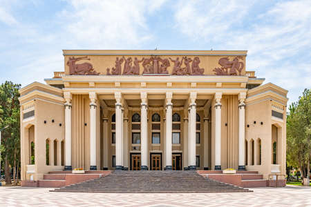 Khujand Kamoli Khujandi Theater at Teatralnyy Skver Square Picturesque View on a Sunny Blue Sky Day