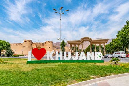 Khujand City I Love Welcome Billboard at Theater Square Teatralnaya Ploshchad on a Sunny Blue Sky Day Redakční