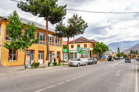 Ayni Town Picturesque Breathtaking View of Common Residential Buildings and Shops on a Cloudy Sky Day Redakční