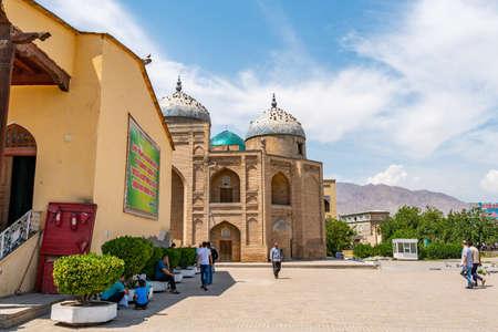Khujand Sheik Muslihiddin Mausoleum Picturesque Breathtaking View on a Sunny Blue Sky Day