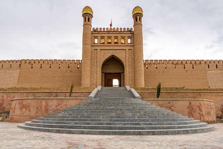 Istaravshan Kalai Mug Teppe Fortress View of Main Gate Entrance on a Cloudy Rainy Day Redakční