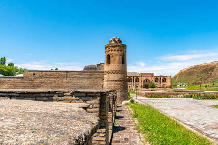 Hisor Fortress Madrasa Kukhna and Nav Picturesque Breathtaking Tower View on a Sunny Blue Sky Day