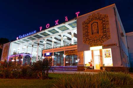 Dushanbe Famous Rohat Teahouse Restaurant with Illuminated Glowing Neon Lights at Night Редакционное