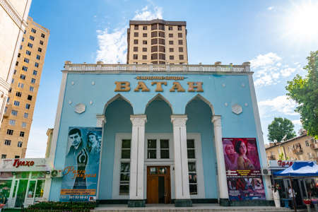 Dushanbe Vatan Cinema Picturesque Breathtaking View at Rudaki Avenue on a Sunny Blue Sky Day Редакционное