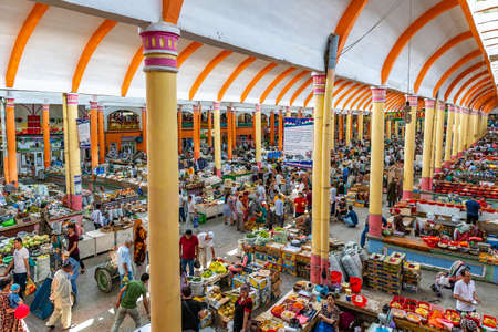 Khujand Panjshanbe Main Bazaar Picturesque Interior View of Ceiling and Market Stand on a Sunny Blue Sky Day Редакционное