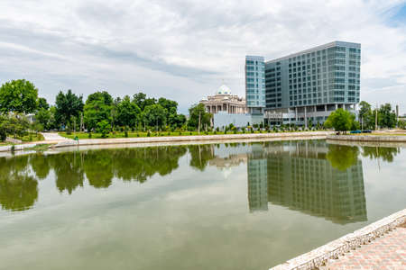 Dushanbe Hyatt Regency Hotel Picturesque View of Komsomolskoe Lake on a Cloudy Rainy Day