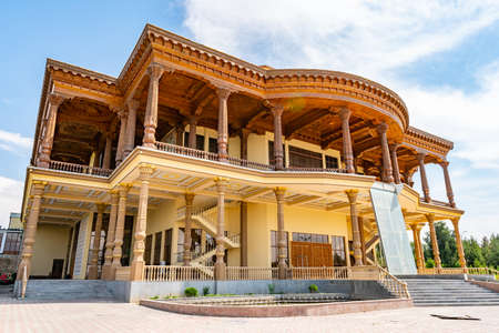 Khujand Arbob Cultural Palace Huge Traditional Tajik Oshkhona Restaurant View with Fountain on a Sunny Blue Sky Day