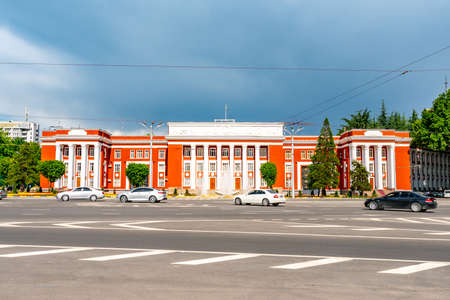 Dushanbe Parliament of the Republic of Tajikistan Breathtaking Picturesque View with Traffic on a Sunny Blue Sky Day
