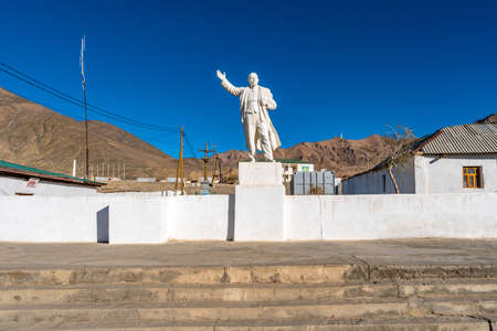 Pamir Highway Murghab Town White Colored Lenin Statue Picturesque View on a Sunny Blue Sky Day