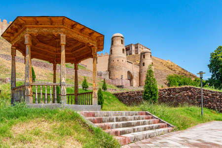 Hisor Fortress Main Gate Entrance Walls Picturesque Breathtaking View with Pavilion on a Sunny Blue Sky Day