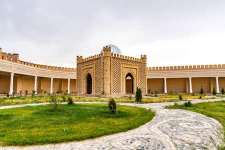 Istaravshan Kalai Mug Teppe Fortress View of a Mausoleum on a Cloudy Rainy Day